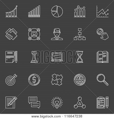 Business strategy plan icons set