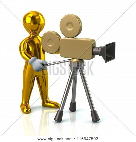 Illustration Of Golden Video Camera Operator