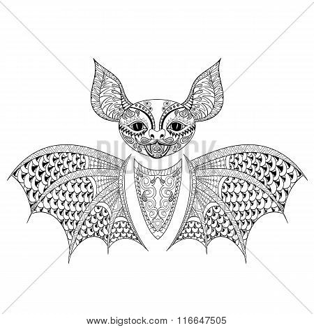 Zentangle Bat totem for adult anti stress Coloring Page for art