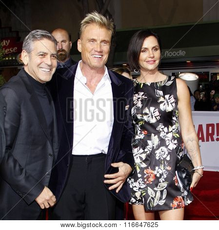 George Clooney, Dolph Lundgren and Jenny Sandersson at the World premiere of 'Hail, Caesar!' held at the Regency Village Theatre in Westwood, USA on February 1, 2016.