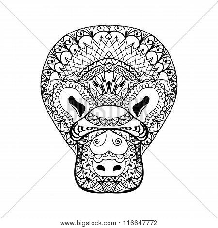 Zentangle Platypus head totem for adult anti stress Coloring Pag