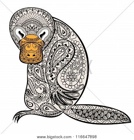 Zentangle Australian platypus totem for adult anti stress Colori