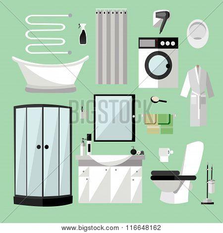 Bathroom interior furniture. Vector illustration in flat style. Design elements, bathtub, washing ma