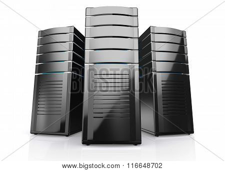 3D Of Network Workstation Servers.