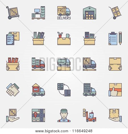 Moving colorful icons set