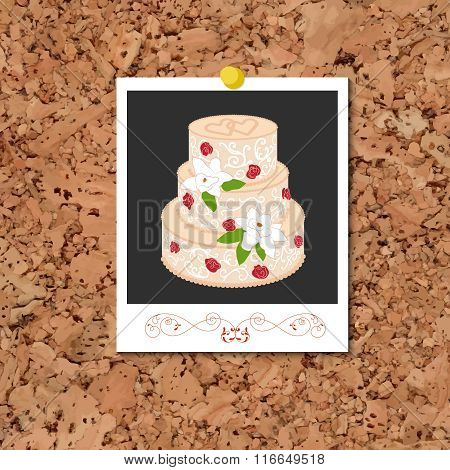 Vector corkboard with instant photo card and wedding cake
