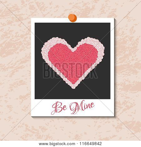 Vector instant photo card with heart from red roses