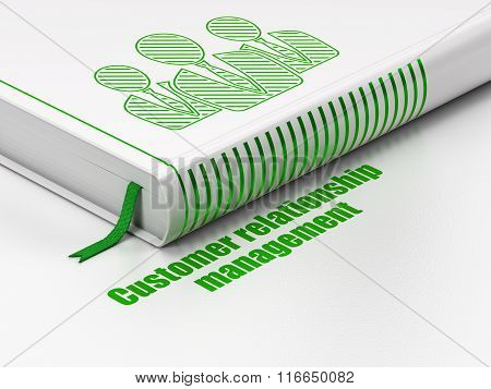 Marketing concept: book Business People, Customer Relationship Management on white background