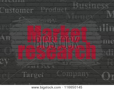 Marketing concept: Market Research on wall background