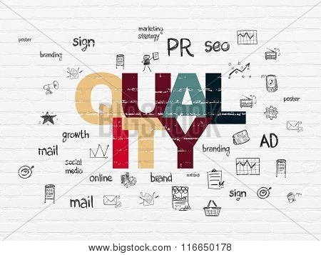 Marketing concept: Quality on wall background