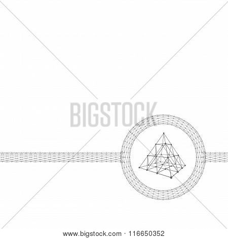 background triangle of the lines connected to points. Polygonal design style letterhead and brochure