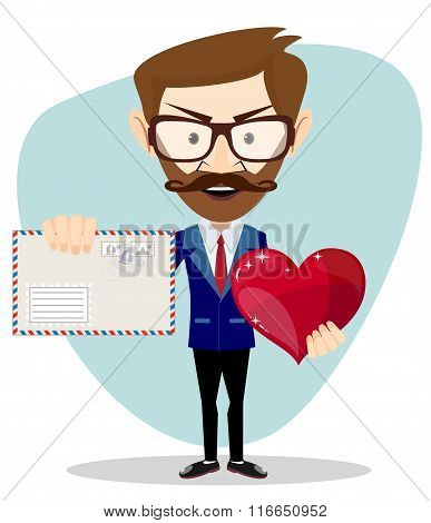 Businessman Holding a Heart and Envelope,