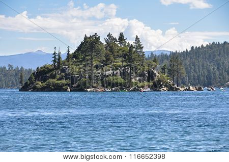 Fannette Island in Tahoe Lake, California