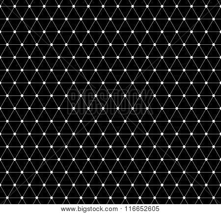 Abstract Grid, Mesh Pattern With Nodes. Seamlessly Repeatable Abstract Monochrome Vector Texture.