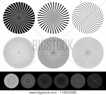 Twisted Starburst, Converging Lines Element Set. Vector.