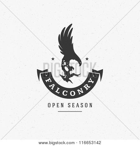 Hunting Club Logo Template. Eagle Silhouette Isolated On White Background. Vector object for Labels, Badges, Logos. Hunter Logo, Eagle Hunting, Eagle Logo, Retro Logo, Eagle Silhouette