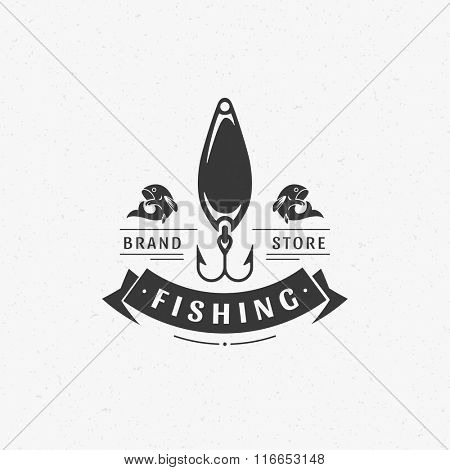 Fishing Club Logo Template. Two Fish and Spoon Minnow Hook Silhouette Isolated On White Background. Vector object for Labels, Badges, Logos. Fish Logo, Fisher Logo,  Fish Silhouette, Hook Silhouette.