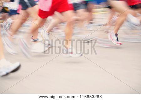 Motion blurred image of Marathon runners