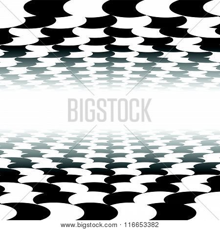 Vanishing Checkered Surface With Circles. 3D Surface In Perspective. Vector Background.