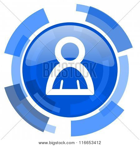 person blue glossy circle modern web icon