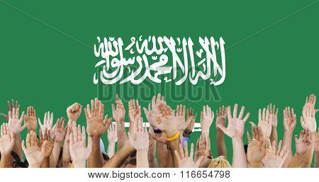 Saudi Arabia National Flag Group of People Concept