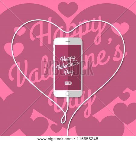 Phone, wire, heart, Valentine's Day