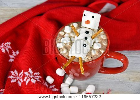 marshmallow snowman in hot choclate
