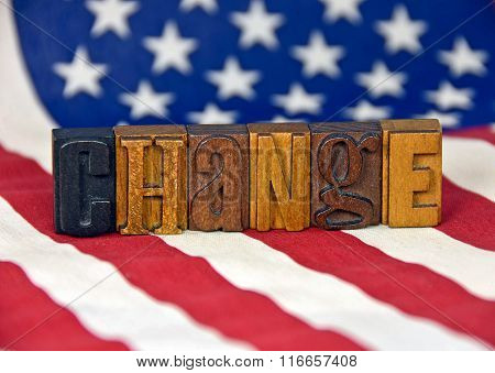 change - letterpress type on flag