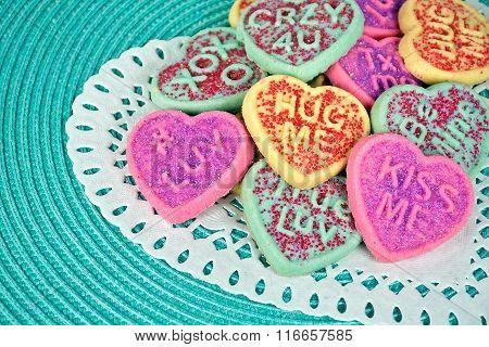 Valentine sugar cookies on doily