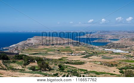 Maltese landscape, Malta, Landscape Countryside Scenery In Malta, cultivated fields in Malta,panoram