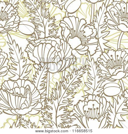 Seamless floral pattern with poppies