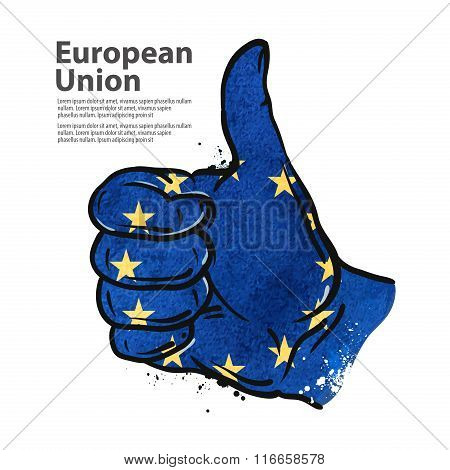 hand gesture thumb up. flag of the European Union. vector illustration
