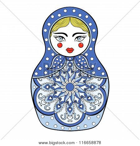 Zentangle stylized elegant Russian doll, Matryoshka doll in Gzhe