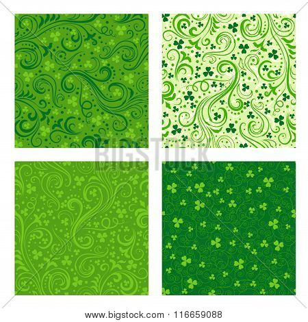 Set Of Green Clover Patterns