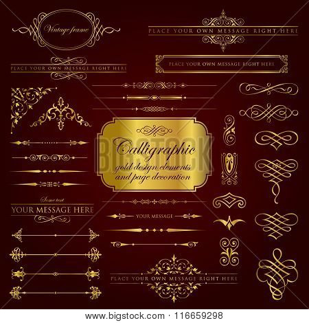 Calligraphic gold design elements and page decoration