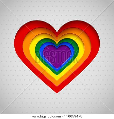 Rainbow Heart Vector Illustration, Valentine, Lgbt