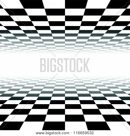 Vanishing Checkered Surface. 3D Surface In Perspective. Vector Background.