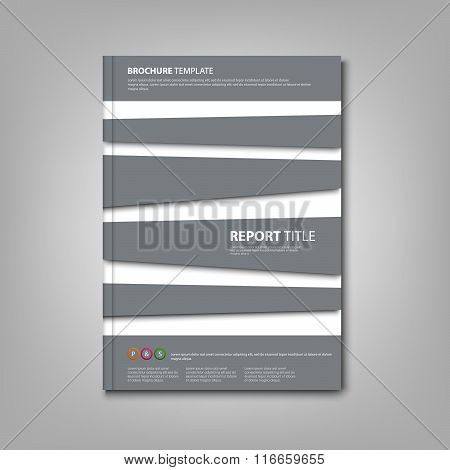 Brochures Book Or Flyer With Abstract Gray Stripes Template