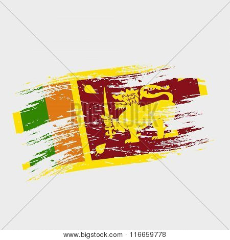 Color Sri-lanka National Flag Grunge Style Eps10