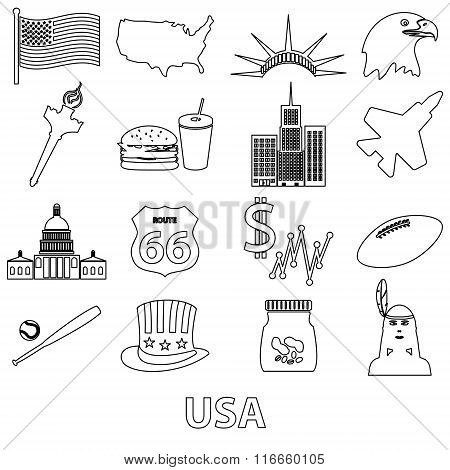 United States Of America Country Theme Outline Icons Set Eps10