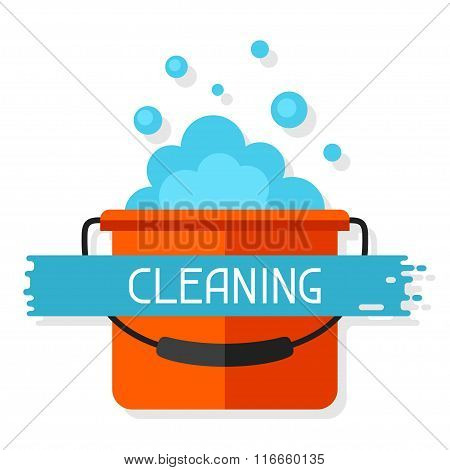 Housekeeping background with bucket and suds. Image can be used on advertising booklets, banners, fl