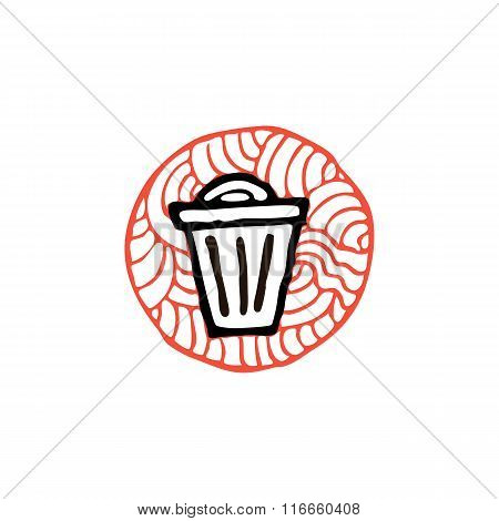 zentangle icon trash bin vector