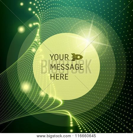 Round Frame with Place for Text. Lattice Structure. Network Technology Communication Background. Graphic Design. 3D Grid Surface with Particles. Illustration For Marketing, Advertising, Presentation.