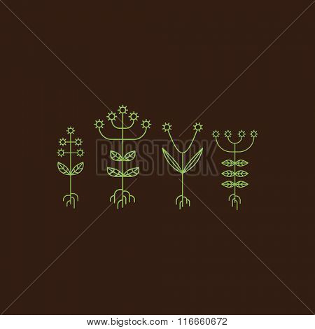Flora Elements. Eco Sign. Vector Illustration. Vector Printing for Natural Products.