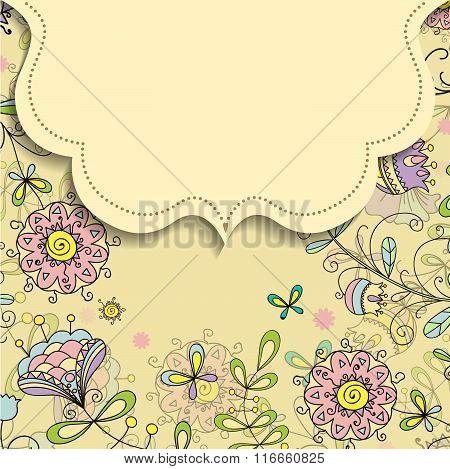 Frame On The Background Of Flower Doodles Patterns