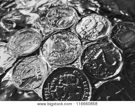 Russian coins rubles on a table