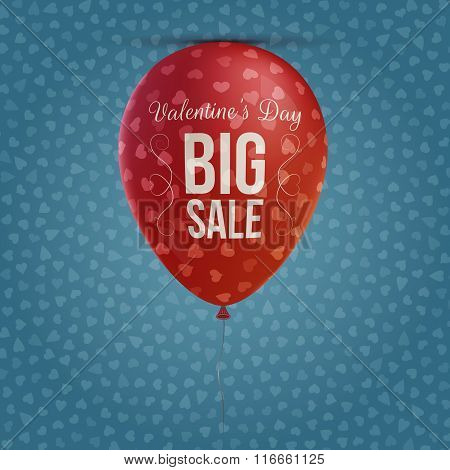 Holiday Balloon with Valentines Day big Sale Text