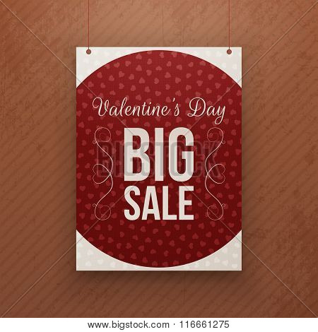 Valentines Day big Sale hanging red Poster