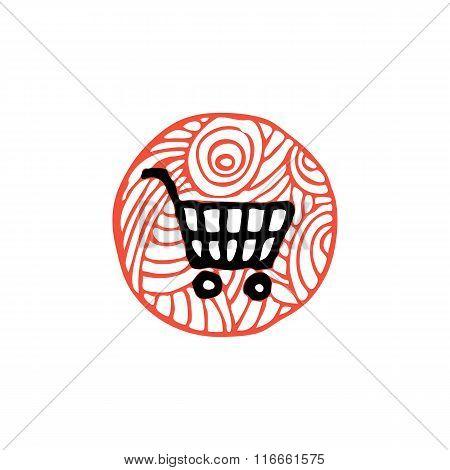 zentangle icon shop cart vector