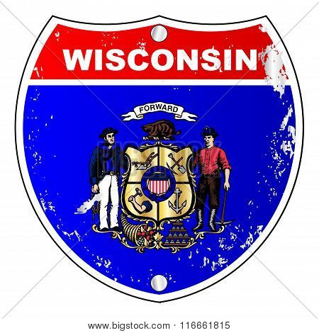 Wisconsin Flag Icons As Interstate Sign